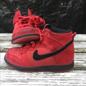 Red suede Nike high dunk